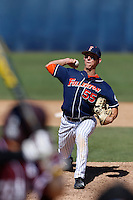 Michael Lorenzen #55 of the Cal State Fullerton Titans pitches against the Texas A&M Aggies at Goodwin Field on March 10, 2013 in Fullerton, California. (Larry Goren/Four Seam Images)
