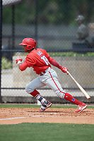 Philadelphia Phillies Raul Rivas (19) during a Minor League Spring Training game against the Toronto Blue Jays on March 30, 2018 at Carpenter Complex in Clearwater, Florida.  (Mike Janes/Four Seam Images)