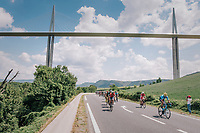 peloton passing under the world's highest suspencion bridge: Le Viaduc de Millau<br /> <br /> Stage 15: Millau > Carcassonne (181km)<br /> <br /> 105th Tour de France 2018<br /> ©kramon