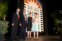 (Left to right) Greg Jamisison, the father of Heather McFarland, Patricia Ernstrom, and Heather McFarland at the San Jose Sports Hall of Fame induction ceremony at the HP Pavilion on Nov. 14, 2012.