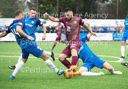 Montrose v St Johnstone…21.07.18…  Links Park    League Cup<br />Tony Watt is tackled by Sean Dillon<br />Picture by Graeme Hart. <br />Copyright Perthshire Picture Agency<br />Tel: 01738 623350  Mobile: 07990 594431