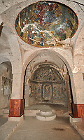 "Pictures & images of Sivisli (St Anargitios) Church interior, 9th century,  the Vadisi Monastery Valley, ""Manastır Vadisi"",  of the Ihlara Valley, Guzelyurt , Aksaray Province, Turkey."