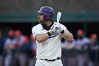 Luke Robinson (38) of the Western Carolina Catamounts at bat against the St. John's Red Storm at Childress Field on March 13, 2021 in Cullowhee, North Carolina. (Brian Westerholt/Four Seam Images)