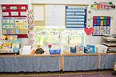 MR / Schenectady, New York. Yates Arts-in-Education Magnet School (urban public school). First grade classroom. Well-organized and attractive early childhood education classroom environment. MR: AM-g1w. ID: AM-g1w. © Ellen B. Senisi.