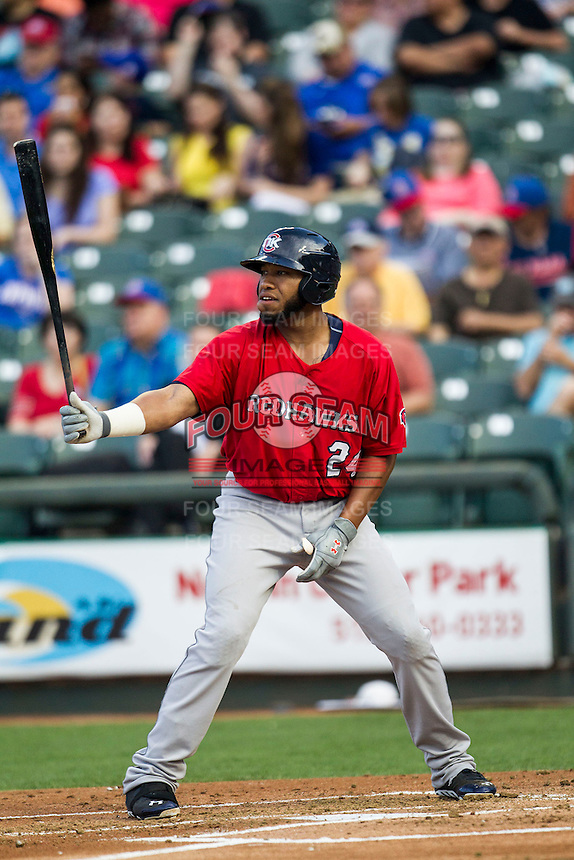 Oklahoma City Redhawks first baseman Jonathan Singleton #24 at bat during the Pacific Coast League baseball game against the Round Rock Express on April 3, 2014 at the Dell Diamond in Round Rock, Texas. The Redhawks defeated the Express 7-6 in the season opener for both teams. (Andrew Woolley/Four Seam Images)
