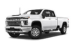 Stock pictures of low aggressive front three quarter view of 2020 Chevrolet Silverado-3500 LTZ 4 Door Pick-up Low Aggressive
