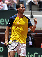 BOGOTA - COLOMBIA – 17 – 09 -2019: Santiago Giraldo de Colombia celebra el punto ganado a Marin Cilic de Croacia, durante partido de la Copa Davis entre los equipos de Colombia y Croacia, partidos por el ascenso al Grupo Mundial de Copa Davis por BNP Paribas, en la Plaza de Toros La Santamaria en la ciudad de Bogota. / Santiago Giraldo of Colombia celebrates the winer point to Marin Cilic of Croatia,  during a Davis Cup match between the teams of Colombia and Croatia, match promoted to the World Group Davis Cup by BNP Paribas, at the La Santamaria Ring Bull in Bogota city. / Photo: VizzorImage / Luis Ramirez / Staff.