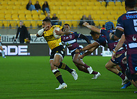Hurricanes' Ngani Laumape heads for the tryline during the Super Rugby Tran-Tasman match between the Hurricanes and Reds at Sky Stadium in Wellington, New Zealand on Friday, 11 June 2020. Photo: Dave Lintott / lintottphoto.co.nz