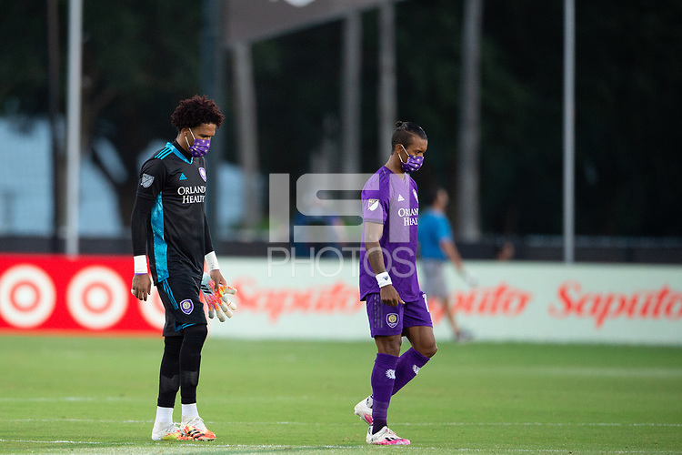 LAKE BUENA VISTA, FL - JULY 25: Nani #17 of Orlando City SC walks the team out during a game between Montreal Impact and Orlando City SC at ESPN Wide World of Sports on July 25, 2020 in Lake Buena Vista, Florida.