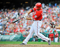 24 September 2011: Washington Nationals second baseman Danny Espinosa connects for a 2 RBI single during game action against the Atlanta Braves at Nationals Park in Washington, DC. The Nationals defeated the Braves 4-1 to even up their 3-game series. Mandatory Credit: Ed Wolfstein Photo