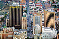 aerial photograph of El Paso, Texas, showing Wells Fargo Plaza, Stanton Tower and the Plaza Hotel and One Texas Tower in the foreground left