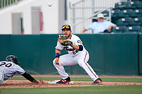 Fort Myers Miracle first baseman Zander Wiel (24) waits to receive a throw during a game against the Jupiter Hammerheads on April 9, 2017 at CenturyLink Sports Complex in Fort Myers, Florida.  Jupiter defeated Fort Myers 3-2.  (Mike Janes/Four Seam Images)