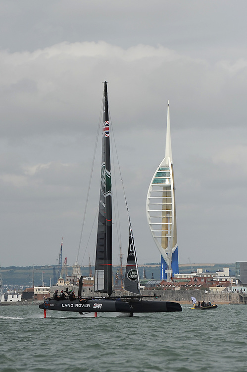 Land Rover BAR sails past the Emirates Spinnaker Tower during day two of the Louis Vuitton America's Cup World Series racing, Portsmouth, United Kingdom. (Photo by Rob Munro/Stewart Communications)