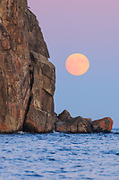 """""""Cold Supermoon Rising""""<br /> <br /> The December (near) full Cold Moon rose through a pastel palette on the eve of the Supermoon. At twilight it appeared next to the cliff with Split Rock Lighthouse."""