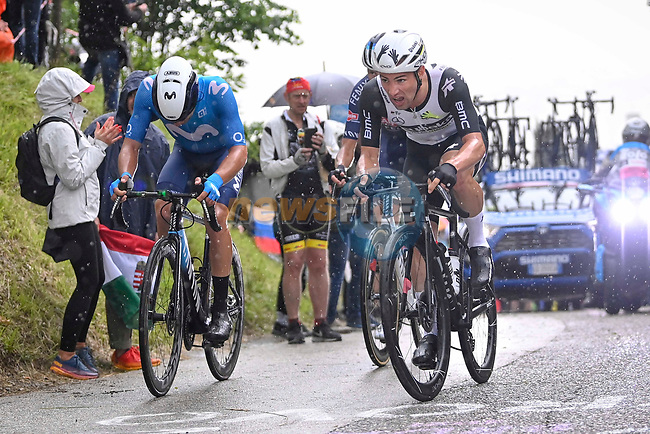 Victor Campenaerts (BEL) Team Qhubeka Assos, Albert Torres Barcelo (ESP) Movistar Team and Oscar Riesebeek (NED) Alpecin-Fenix attack on the final climb during Stage 15 of the 2021 Giro d'Italia, running 147km from Grado to Gorizia, Italy and Slovenia. 23rd May 2021.  <br /> Picture: LaPresse/Fabio Ferrari | Cyclefile<br /> <br /> All photos usage must carry mandatory copyright credit (© Cyclefile | LaPresse/Fabio Ferrari)