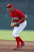 Batavia Muckdogs first baseman Victor Sanchez (14) during a game vs. the State College Spikes at Dwyer Stadium in Batavia, New York June 26, 2010.   State College defeated Batavia 9-8.  Photo By Mike Janes/Four Seam Images