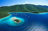 Aerial view of Leinster Bay and <br /> Waterlemon Cay<br /> Virgin Islands National Park<br /> St. John, U.S. Virgin Islands