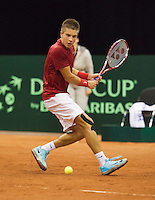 September 12, 2014, Netherlands, Amsterdam, Ziggo Dome, Davis Cup Netherlands-Croatia, Borna Coric (CRO) <br /> Photo: Tennisimages/Henk Koster
