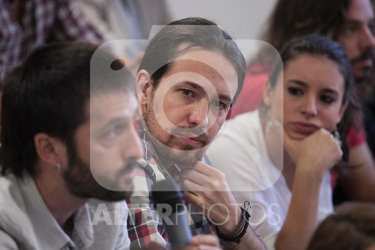 "`Podemos´ political party leader Pablo Iglesias during the presentation of ""Ruta del Cambio"" - Pablo Iglesias Tour in Madrid, Spain. June 18, 2015. (ALTERPHOTOS/Victor Blanco)"
