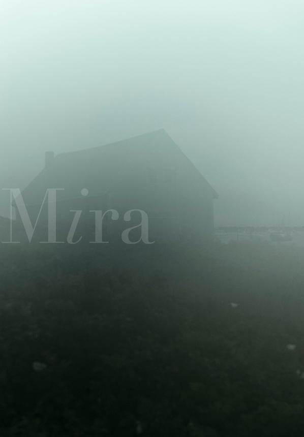 Boathouse in misty overcast weather, Cape Cod, Massachusetts, USA