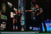 25th May 2021; Marshall Arena, Milton Keynes, Buckinghamshire, England; Professional Darts Corporation, Unibet Premier League Night 14 Milton Keynes; Gary Anderson in action against Michael van Gerwen