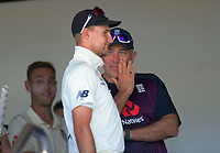 England captain Joe Root with coach Chris Silverwood during day one of the international cricket 1st test match between NZ Black Caps and England at Bay Oval in Mount Maunganui, New Zealand on Thursday, 21 November 2019. Photo: Dave Lintott / lintottphoto.co.nz
