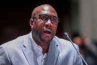 George FloydÌs brother Philonise Floyd gives his opening statement during the House Judiciary Committee hearing on ÎPolicing Practices and Law Enforcement AccountabilityÌ at the US Capitol in Washington, DC, USA, 10 June 2020. The hearing comes after the death of George Floyd while in the custody of officers of the Minneapolis Police Department and the introduction of the Justice in Policing Act of 2020 in the US House of Representatives.<br /> Credit: Michael Reynolds / Pool via CNP/AdMedia