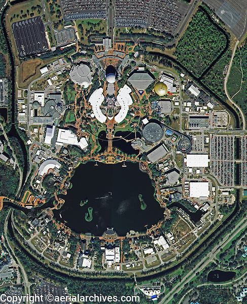 aerial photo map of Epcot Center, Walt Disney World Resort, near Orlando, Florida