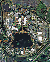 aerial photo map of Epcot Center, Walt Disney World Resort, near Orlando, Florida