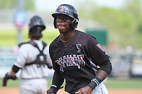 Wisconsin Timber Rattlers outfielder Monte Harrison (3) during a Midwest League game against the Kane County Cougars on May 16th, 2015 at Fox Cities Stadium in Appleton, Wisconsin.  Kane County defeated Wisconsin 4-2.  (Brad Krause/Four Seam Images)