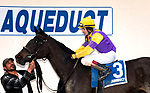OZONE PARK, NEW YORK, MARCH 03: Midnight Disguise, #3, ridden by Trevor McCarthy, wins the Busher Stakes at Aqueduct Race Track on March 3, 2018 in Ozone Park, New York. (Lynn Hildenbrand/Eclipse Sports/Getty Images).