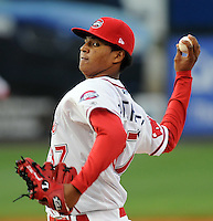 April 20, 2009: RHP Stolmy Pimentel of the Greenville Drive, Class A affiliate of the Boston Red Sox, pitches in a game against the Greensboro Grasshoppers at Fluor Field at the West End in Greenville, S.C. Pimentel will start for the Drive Sept. 17, 2009, in Game 3 of the South Atlantic League Championship Series with his team down 0-2. Photo by: Tom Priddy/Four Seam Images