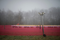 'lonely' PA-system in the fog (mist horn?) the day before the race<br /> <br /> 2016 CX UCI World Cup Zeven (DEU)