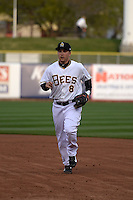 Taylor Lindsey (8) of the Salt Lake Bees during the game against the Sacramento River Cats at Smith's Ballpark on April 3, 2014 in Salt Lake City, Utah.  (Stephen Smith/Four Seam Images)