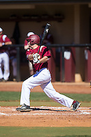 Chad Smith (13) of the Winthrop Eagles follows through on his swing against the Kennesaw State Owls at the Winthrop Ballpark on March 15, 2015 in Rock Hill, South Carolina.  The Eagles defeated the Owls 11-4.  (Brian Westerholt/Four Seam Images)