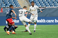 FOXBOROUGH, MA - APRIL 17: Emiliano Terzaghi #32 of Richmond Kickers takes a shot at goal during a game between Richmond Kickers and Revolution II at Gillette Stadium on April 17, 2021 in Foxborough, Massachusetts.
