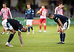 Dundee v St Johnstone…22.09.21  Dens Park.    Premier Sports Cup<br />Dundee players Cammy Kerr and Liam Fontaine pictured at full time after being beaten 2-0 by saints<br />Picture by Graeme Hart.<br />Copyright Perthshire Picture Agency<br />Tel: 01738 623350  Mobile: 07990 594431