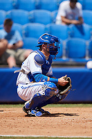 Dunedin Blue Jays catcher Alberto Mineo (44) during a game against the Daytona Tortugas on April 22, 2018 at Dunedin Stadium in Dunedin, Florida.  Daytona defeated Dunedin 5-1.  (Mike Janes/Four Seam Images)