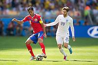 Bryan Ruiz of Costa Rica and Adam Lallana of England