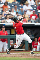 Texas Tech Red Raiders shortstop Josh Jung (16) follows through on his swing during Game 5 of the NCAA College World Series against the Arkansas Razorbacks on June 17, 2019 at TD Ameritrade Park in Omaha, Nebraska. Texas Tech defeated Arkansas 5-4. (Andrew Woolley/Four Seam Images)