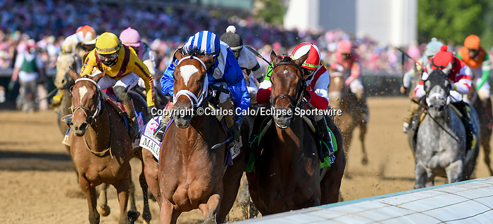 April 30, 2021 : Malathaat, #10, ridden by jockey John Velazquez, wins the 147th running of the Longines Kentucky Oaks on Kentucky Oaks Day at Churchill Downs on April 30, 2021 in Louisville, Kentucky. Carlos Calo/Eclipse Sportswire/CSM