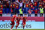 Nguyen Cong Phuong of Vietnam (R) celebrates after scoring his goal with his teammates during the AFC Asian Cup UAE 2019 Round of 16 match between Jordan (JOR) and Vietnam (VIE) at Al Maktoum Stadium on 20 January 2019 in Dubai, United Arab Emirates. Photo by Marcio Rodrigo Machado / Power Sport Images