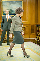 Her Magestic the Queen of Spain Sofia receives Iin hearing a delegation of UNICEF.at the Zarzuela Palace in Madrid on february 06, 2014- Photo by Samuel de Roman/Photocall3000/DyD Fotografos-DYDPPA