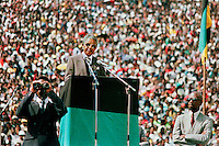 Nelson Mandela speaks to the crowd at a rally in the FNB stadium in Soweto after his release from prison.