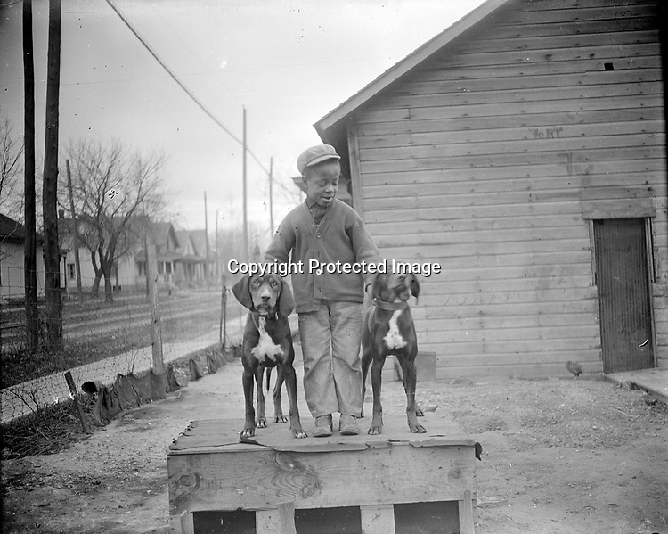 """BOY WITH HOUNDS<br /> To pose this pair of fine hounds atop their doghouse, the photographer has enlisted the services of a boy in a crooked-buttoned cardigan sweater. Some of the most captivating photographs are those where children are center-stage. In spite of their often tattered clothing, children are never depicted as downtrodden or """"less than"""". Rather, they have a special nobility.<br /> <br /> Photographs taken on black and white glass negatives by African American photographer(s) John Johnson and Earl McWilliams from 1910 to 1925 in Lincoln, Nebraska. Douglas Keister has 280 5x7 glass negatives taken by these photographers. Larger scans available on request."""