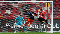 Saman Ghoddos scores Brentford's opening goal with a fine header during Brentford vs Luton Town, Sky Bet EFL Championship Football at the Brentford Community Stadium on 20th January 2021