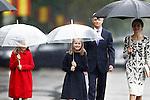 Queen Letizia of Spain (r), Princess Leonor of Spain (c) and Princess Sofia of Spain attend the National Day military parade. October 12 ,2016. (ALTERPHOTOS/Acero)