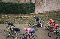 German national champion Pascal Ackermann (DEU/BORA - hansgrohe) slips over the wet cobbles & almost takes double Omloop-winner Ian Stannard (GBR/SKY) down with him<br /> <br /> 74th Omloop Het Nieuwsblad 2019 <br /> Gent to Ninove (BEL): 200km<br /> <br /> ©kramon