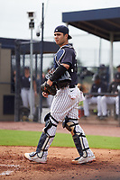 FCL Yankees catcher Antonio Gomez (55) during a game against the FCL Phillies on July 6, 2021 at the Yankees Minor League Complex in Tampa, Florida.  (Mike Janes/Four Seam Images)