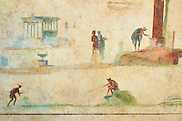 Roman fresco wall decorations of the Triclinium C, Villa Farnesia, Rome. Museo Nazionale Romano ( National Roman Museum), Rome, Italy.